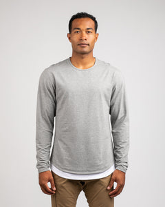 Grey/White Layer - Layered Drop-Cut Long Sleeve: LUX