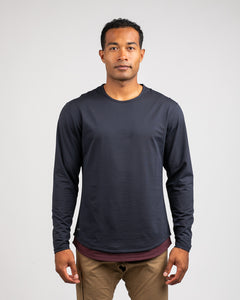 Navy/Maroon Microdot - Drop-Cut Long Sleeve LUX