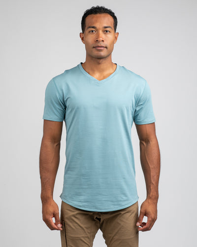 Drop-Cut V-Neck: LUX Slate - Drop-Cut V-Neck LUX