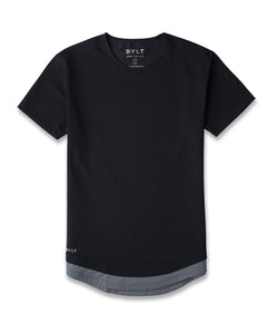 Black/Charcoal Layer Drop-Cut LUX Shirt