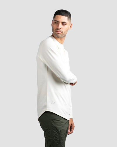 Henley Drop-Cut Long Sleeve: LUX Bone