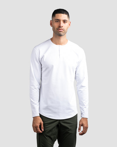 Henley Drop-Cut Long Sleeve: LUX White