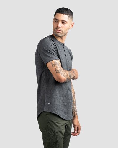 Dark Heather Grey Henley Drop-Cut LUX Shirt