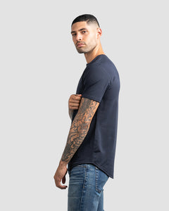 Navy Henley Drop-Cut LUX Shirt
