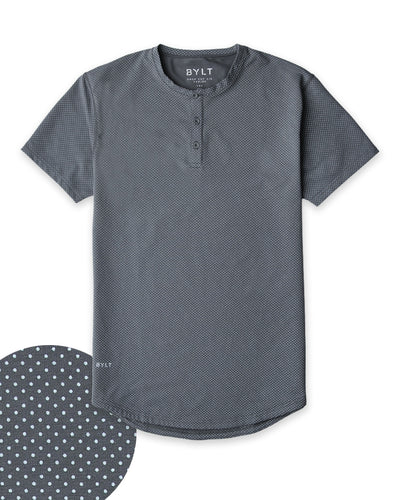 Henley Drop-Cut: LUX Microdot Charcoal/Sea Breeze