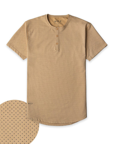 Henley Drop-Cut: LUX Microdot Dune/Olive