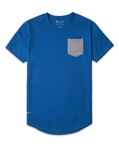 Drop-Cut: LUX Pocket Royal/Heather-Grey - Drop-Cut LUX Pocket Shirt