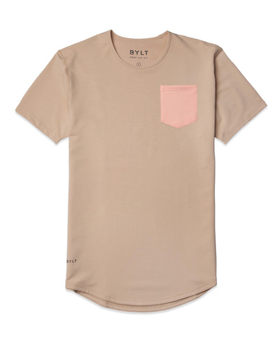 Drop-Cut: LUX Pocket Sand/Pink Ice - Drop-Cut LUX Pocket Shirt