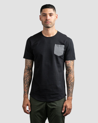 Drop-Cut: LUX Pocket Black/Charcoal - Drop-Cut LUX Pocket Shirt