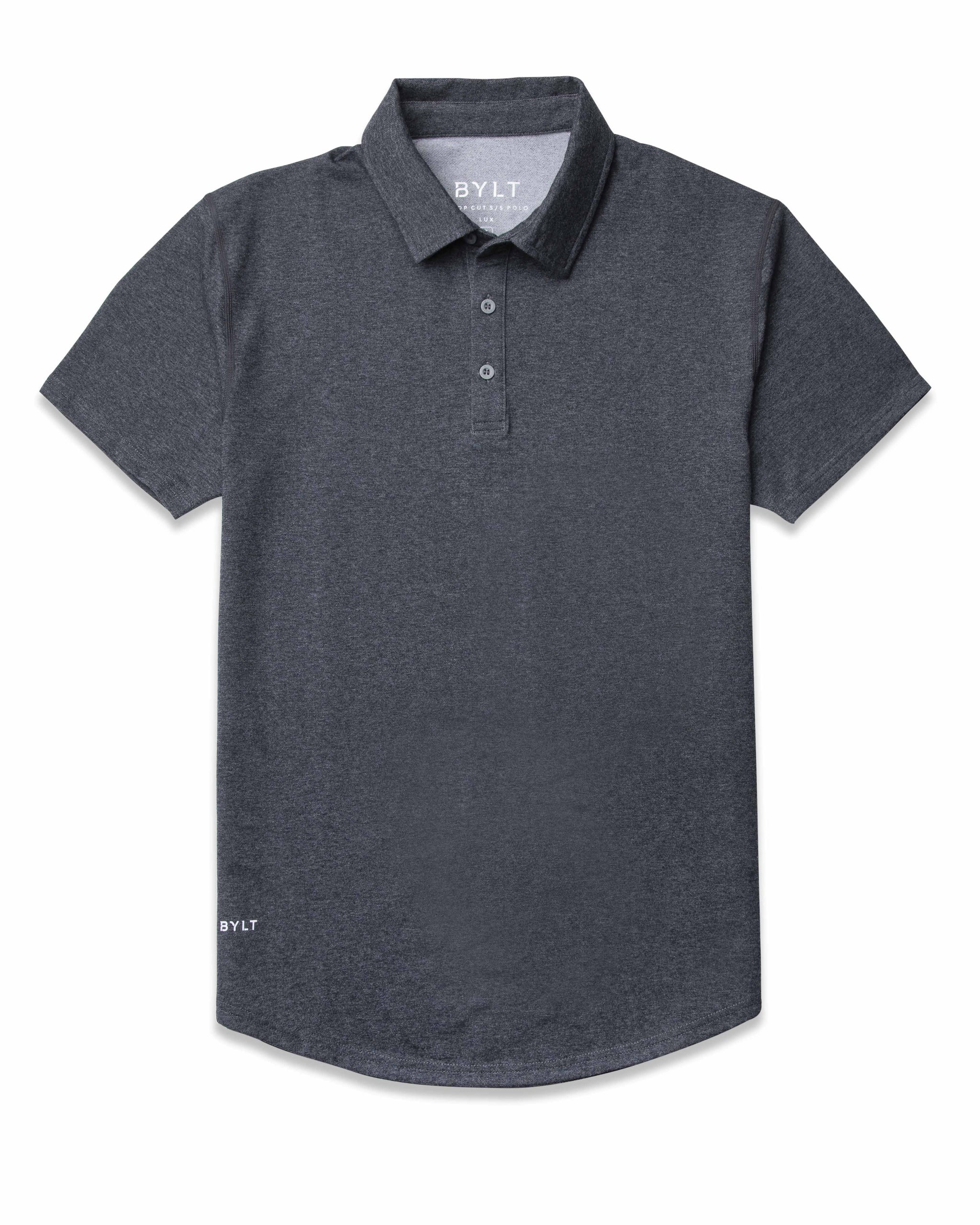 Dark Heather Grey Drop-Cut: LUX Polo
