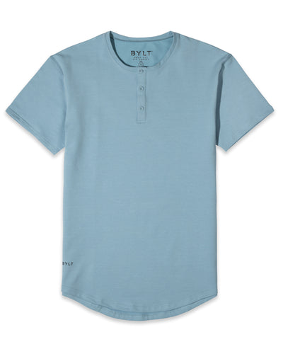 Henley Drop-Cut: LUX Sky Blue