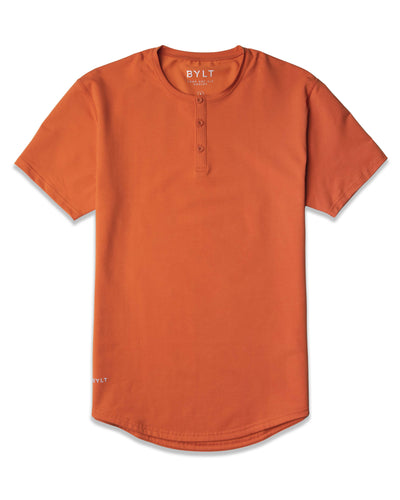 Henley Drop-Cut: LUX Burnt Orange -  Henley Drop-Cut LUX Shirt