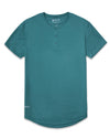 Henley Drop-Cut: LUX Deep Cyan Henley Drop-Cut LUX Shirt