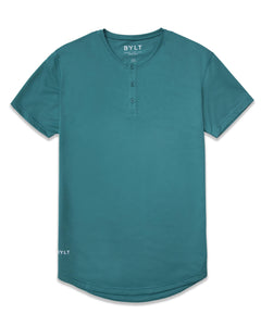 Deep Cyan Henley Drop-Cut LUX Shirt