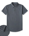Drop-Cut: LUX Microdot Polo Charcoal/Sea Breeze