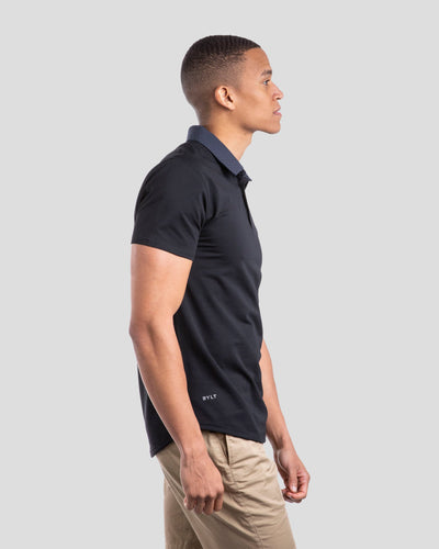 Drop-Cut: LUX Microdot Polo Black/Navy/Grey
