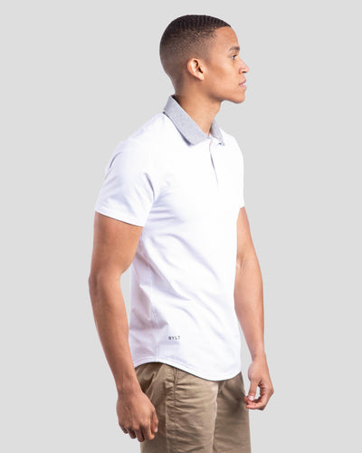 Drop-Cut: LUX Microdot Polo White/Grey/Grey