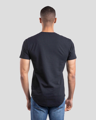 Henley Drop-Cut: LUX Microdot Black/Grey