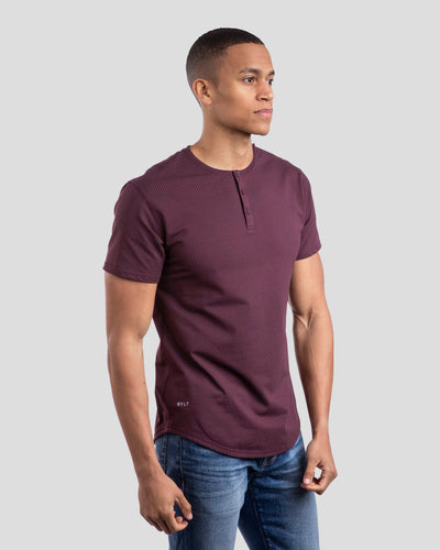 Henley Drop-Cut: LUX Microdot Maroon/Grey