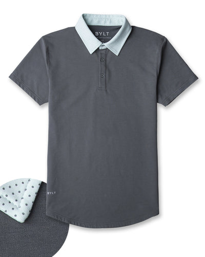 Drop-Cut: LUX Microdot Polo Charcoal/Sea Breeze/Charcoal