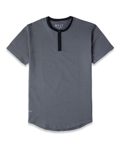 Henley Drop-Cut: LUX Charcoal/Black