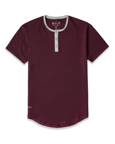 Henley Drop-Cut: LUX (FINAL SALE) Maroon/Grey