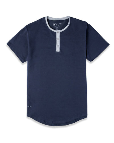 Henley Drop-Cut: LUX Navy/Heather Grey