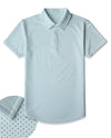 Drop-Cut: LUX Microdot Polo Sea Breeze/Charcoal