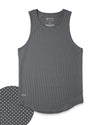 LUX Drop-Cut Tank: Microdot Charcoal/Sea Breeze
