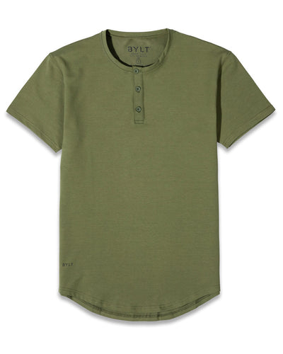 Henley Drop-Cut: LUX Military Green