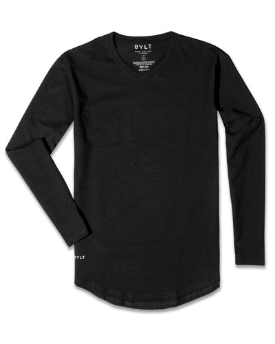 Drop-Cut V-Neck Long Sleeve (FINAL SALE) Black