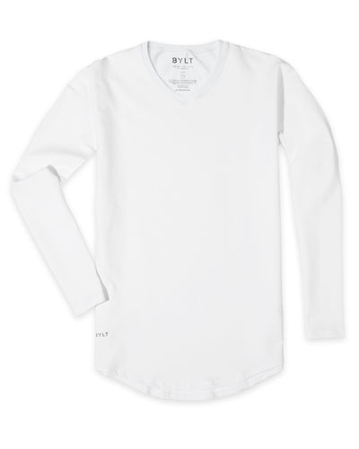Drop-Cut V-Neck Long Sleeve (FINAL SALE) White