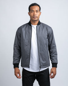 Black / Charcoal - Hi-Lo Reversible Bomber Jacket