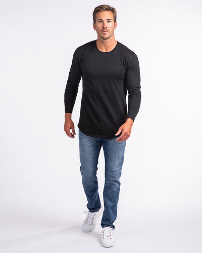 Drop-Cut Long Sleeve: LUX <!-- Size XS --> Black