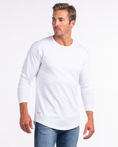 Drop-Cut Long Sleeve: LUX White