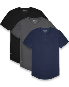 Henley Drop-Cut Shirt - 3 Pack
