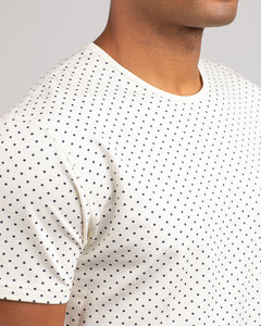 Bone/Navy - Dotted Drop-Cut: LUX