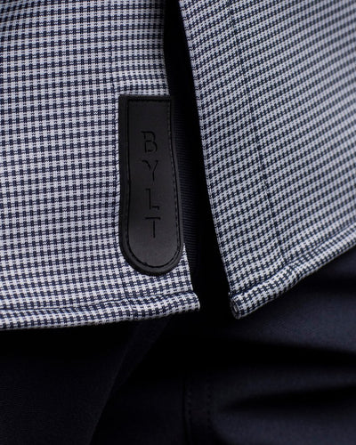 Executive Drop-Cut: Short Sleeve Navy/White