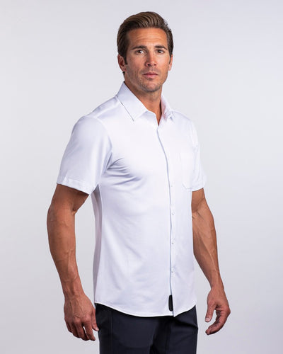 Executive Drop-Cut: Short Sleeve White/White