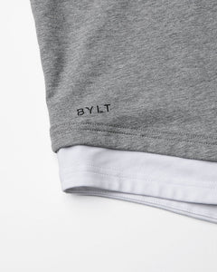 Grey/White Layer Drop-Cut LUX Shirt