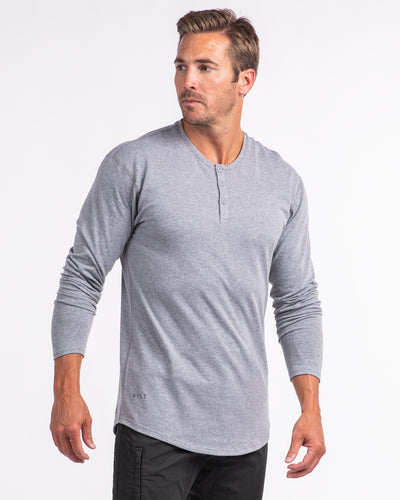 Henley Drop-Cut Long Sleeve - 2019 Style - (FINAL SALE) Heather Grey