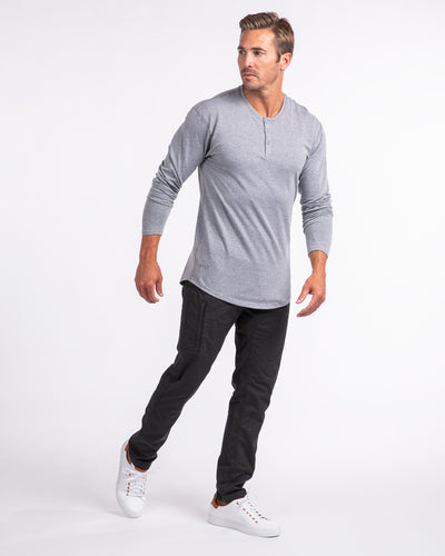 Henley Drop-Cut Long Sleeve: LUX Heather Grey