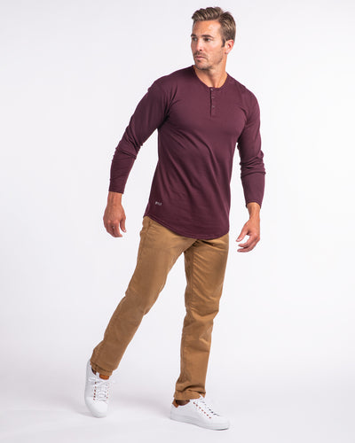 Henley Drop-Cut Long Sleeve: LUX Maroon