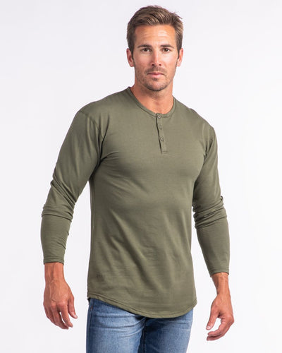 Henley Drop-Cut Long Sleeve - 2019 Style - (FINAL SALE) Military Green - Henley Drop-Cut Long Sleeve