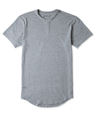 Henley Drop-Cut: LUX Heather Grey - Henley Drop-Cut: LUX