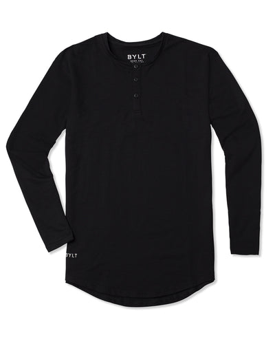Henley Drop-Cut Long Sleeve - 2019 Style - (FINAL SALE) Black