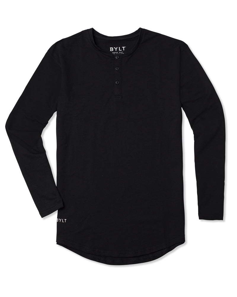 Henley Drop-Cut Long Sleeve