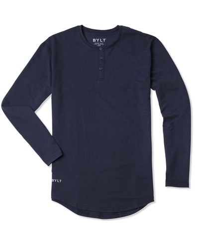 Henley Drop-Cut Long Sleeve: LUX Navy