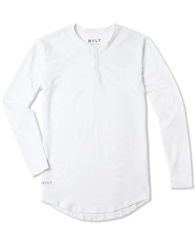 Henley Drop-Cut Long Sleeve White