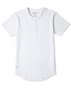 White - Henley Drop-Cut: LUX